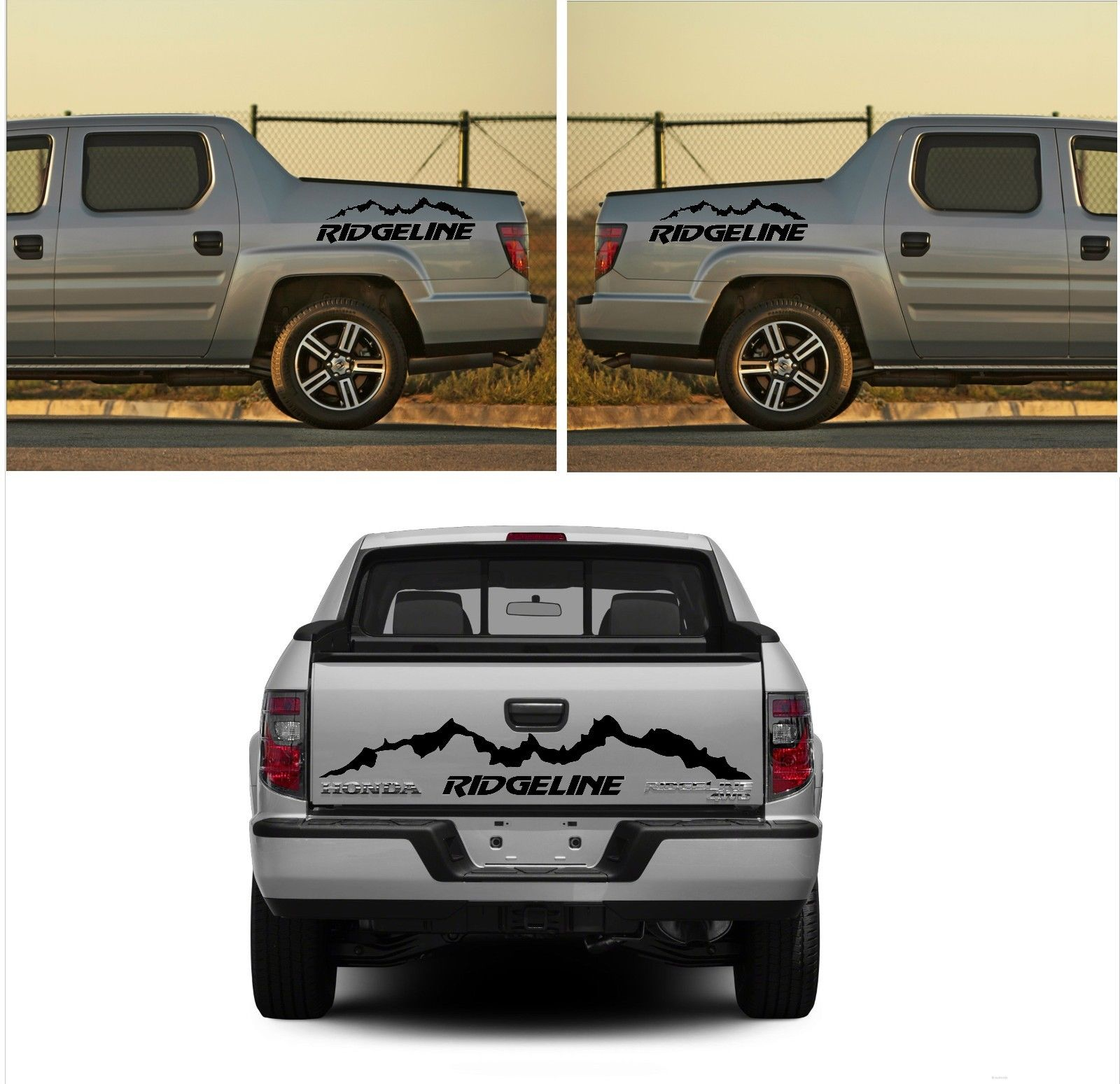3x honda ridgeline rear and side vinyl body decal sticker graphics emblem logo