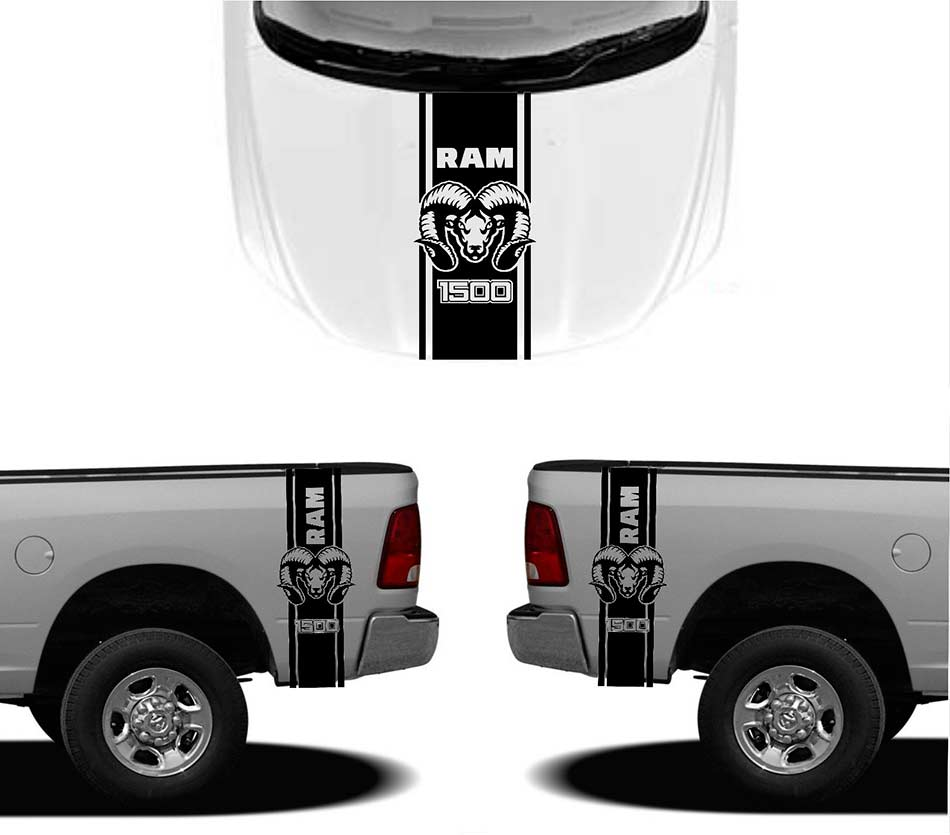 Product X DODGE HOOD FENDER DECALS RAM HEMI Graphics - Truck bed decals custombody graphicsdodge ram