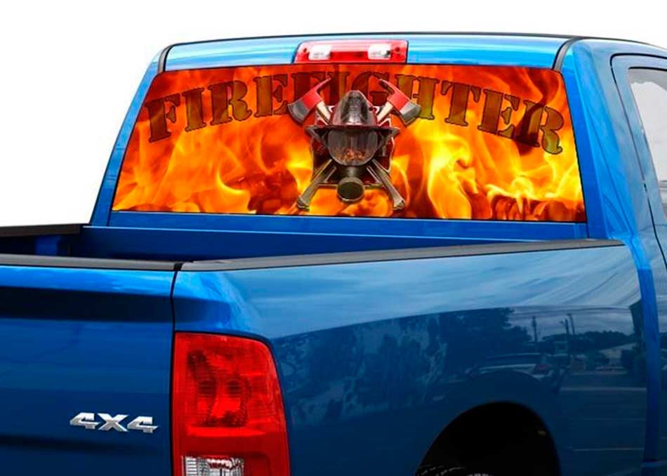 Firefighter fire flame rear window decal sticker pickup truck suv car