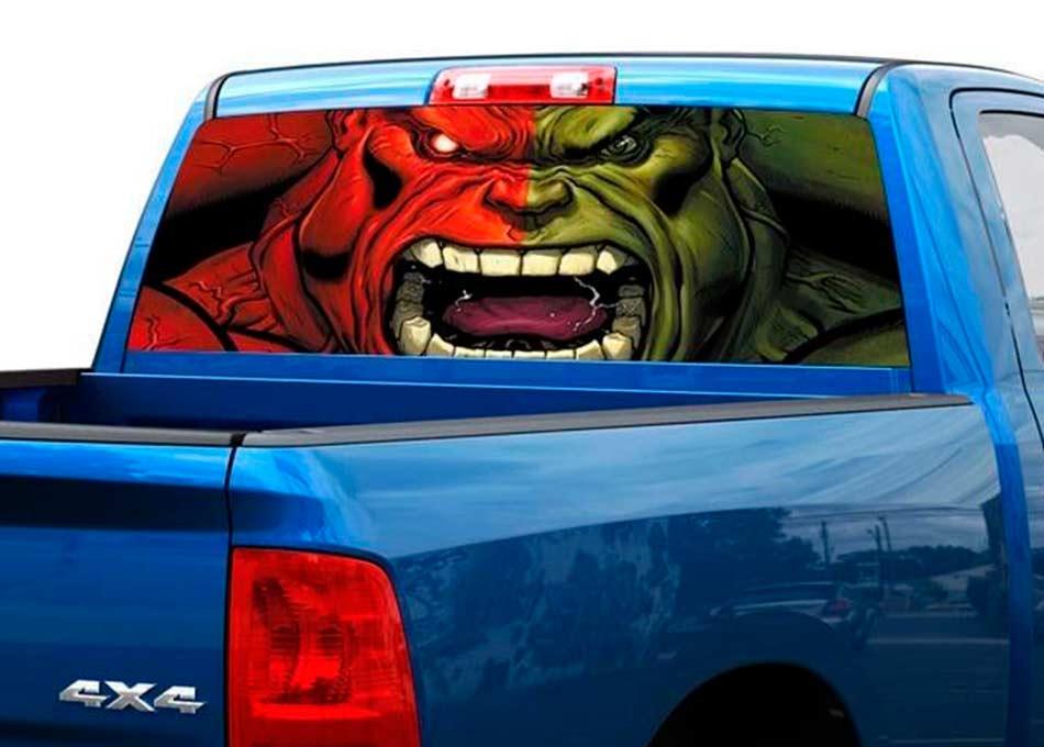 Green and Red Hulk Art Rear Window Decal Sticker Pick-up Truck SUV Car