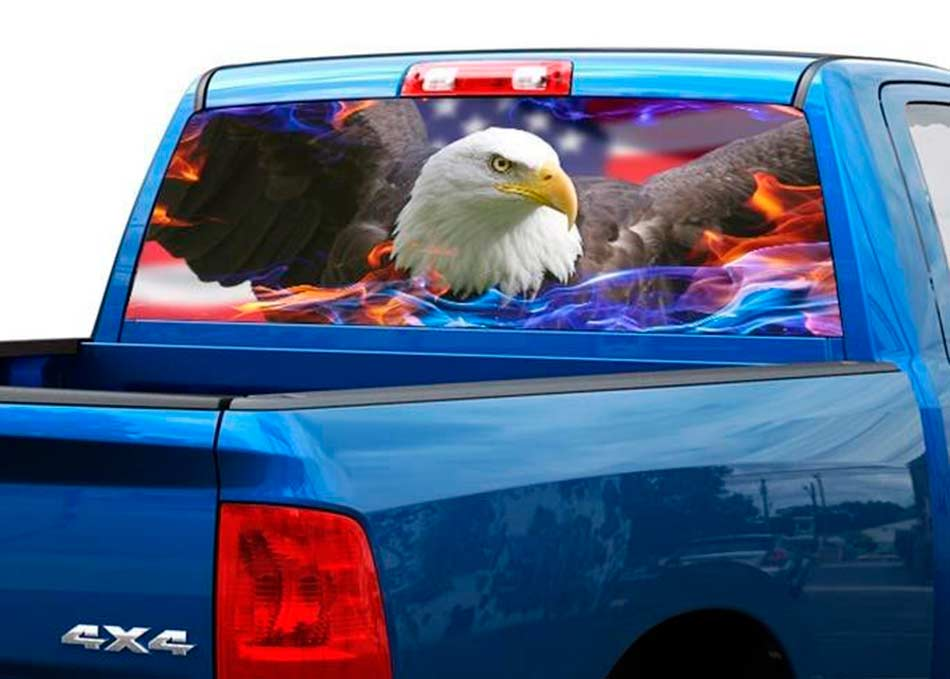 Bald eagle us usa rear window decal sticker pick up truck suv car