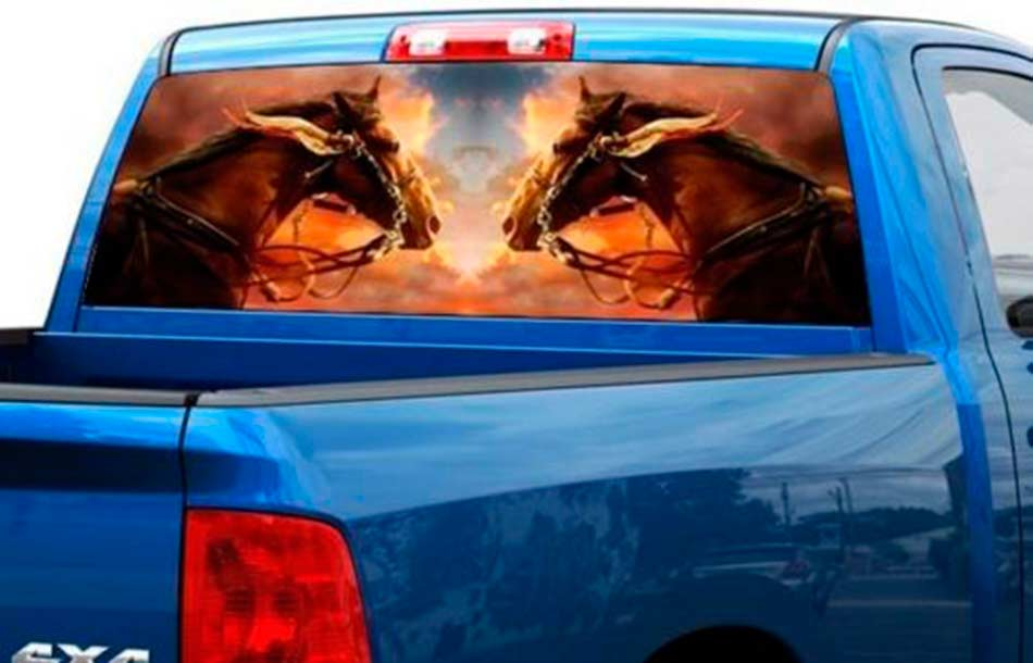 Two horses on cloud Rear Window Wrap Graphic Decal Sticker Truck SUV pick-up car