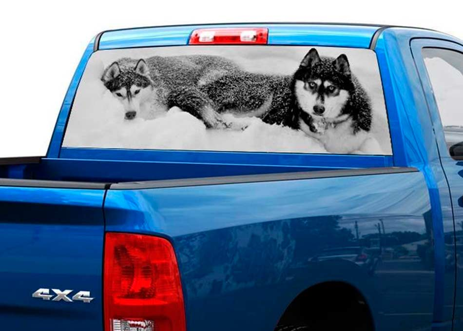 Product Two WOLVES Black And White Rear Window Decal Sticker - Rear window decals for trucks