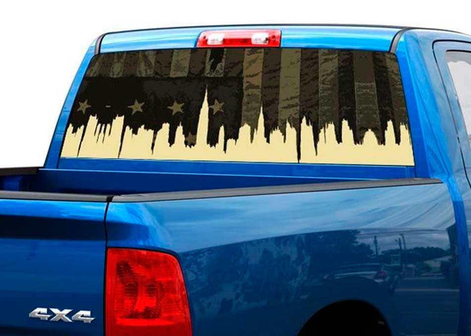 US USA Military flag city Rear Window Decal Sticker Pickup Truck SUV Car