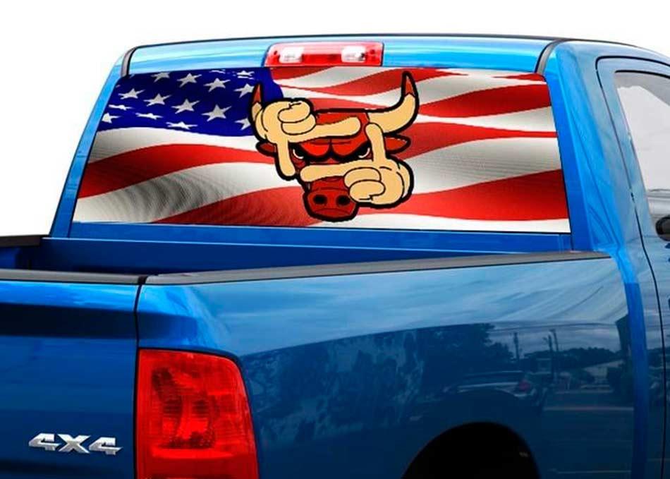 Chicago Bulls basketball team Rear Window Decal Sticker Pick-up Truck SUV Car 2