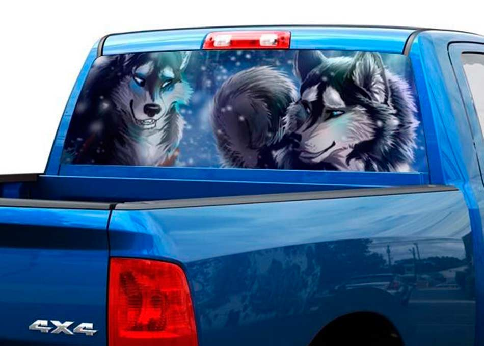 Product Drawing Two Wolves Rear Window Decal Sticker Pickup - Back window decals for trucks