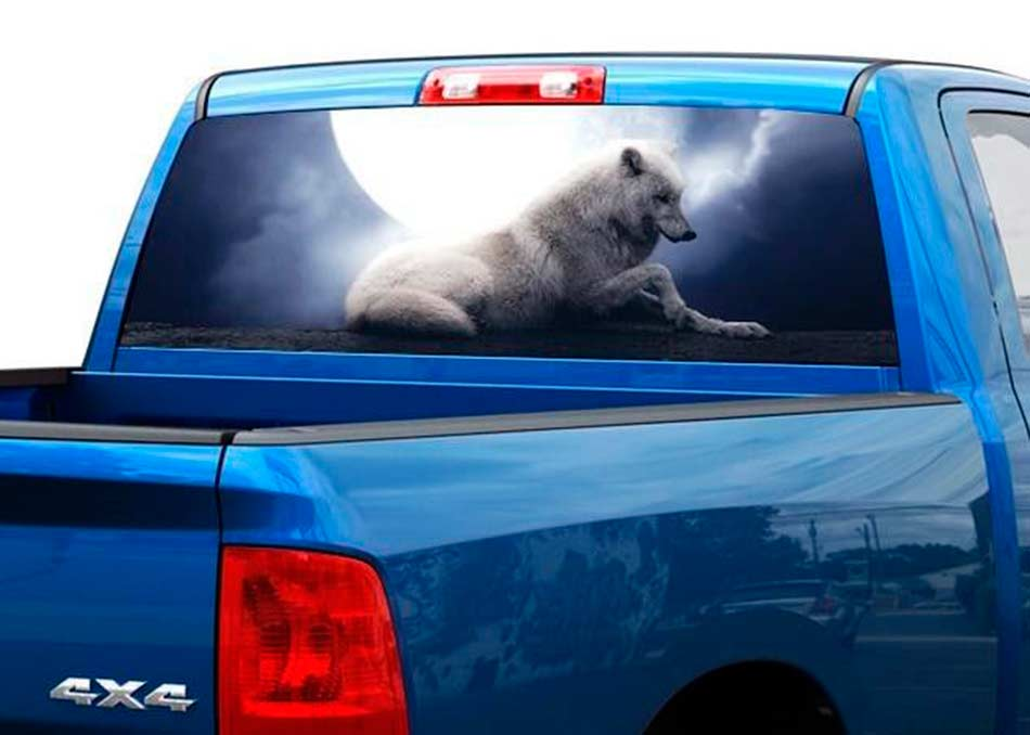 White wolf with moon dark night Rear Window Decal Sticker Pick-up Truck SUV Car