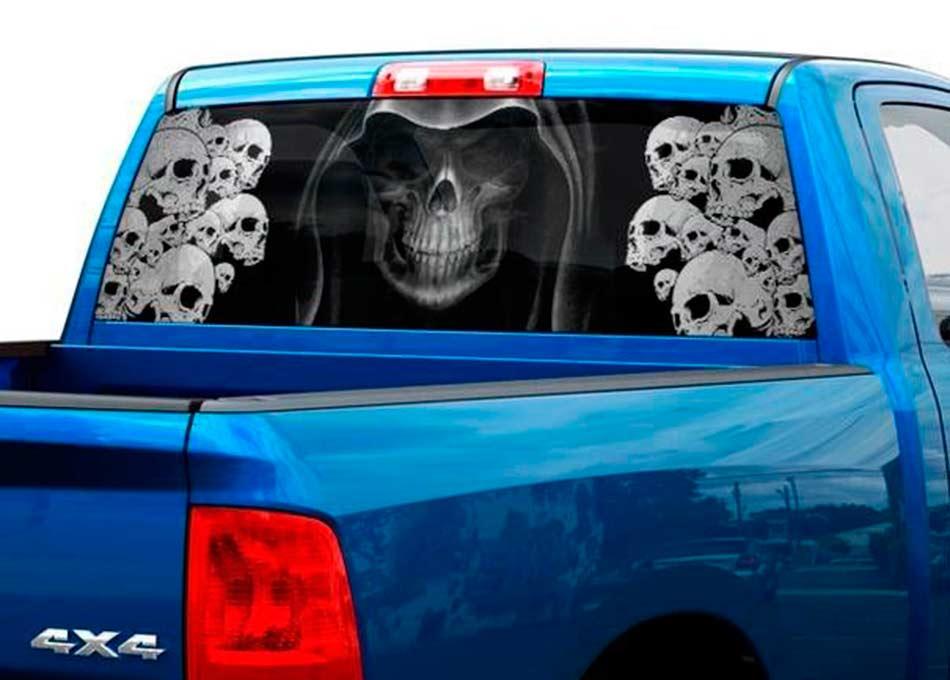 Truck Back Window Decals >> Death Bw Skull Skeleton Fear Rear Window Decal Sticker Pick Up Truck Suv Car