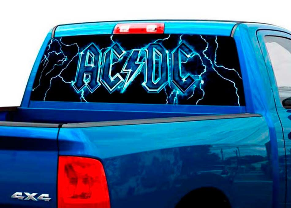 Ac dc band rock heavy metal music rear window graphic decal sticker truck suv