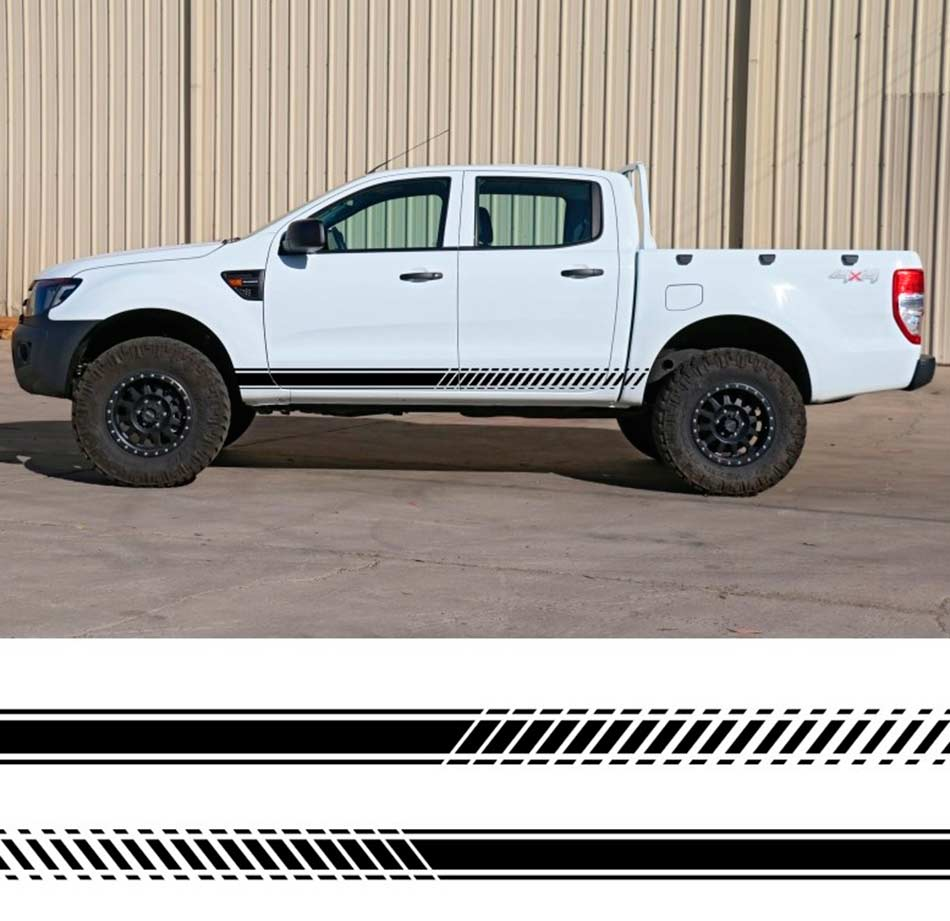 Product 2 PC Gradient Side Stripe Graphic Vinyl Sticker For Ford Ranger 2012 2013 2014 2015 2016