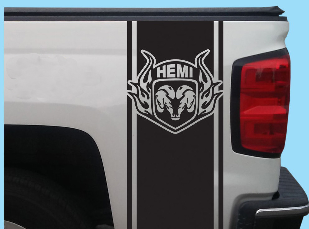 Dodge Ram Hemi Rear Bed Vinyl Decal Stripes Truck Graphics T-131