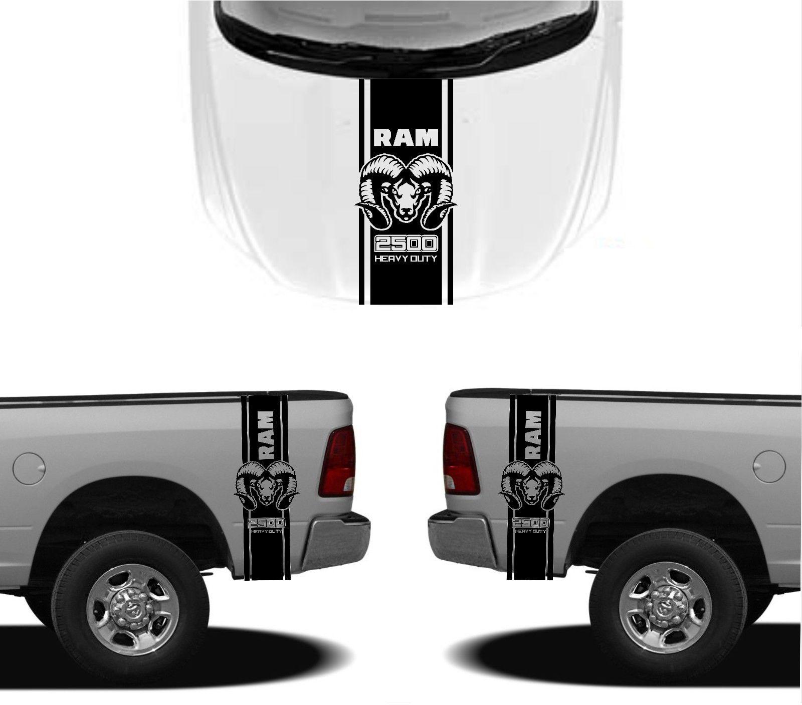 3X DODGE HOOD FENDER AUFKLEBER RAM HEMI 2500 1500 Grafik Vinyl Gehäuse Aufkleber