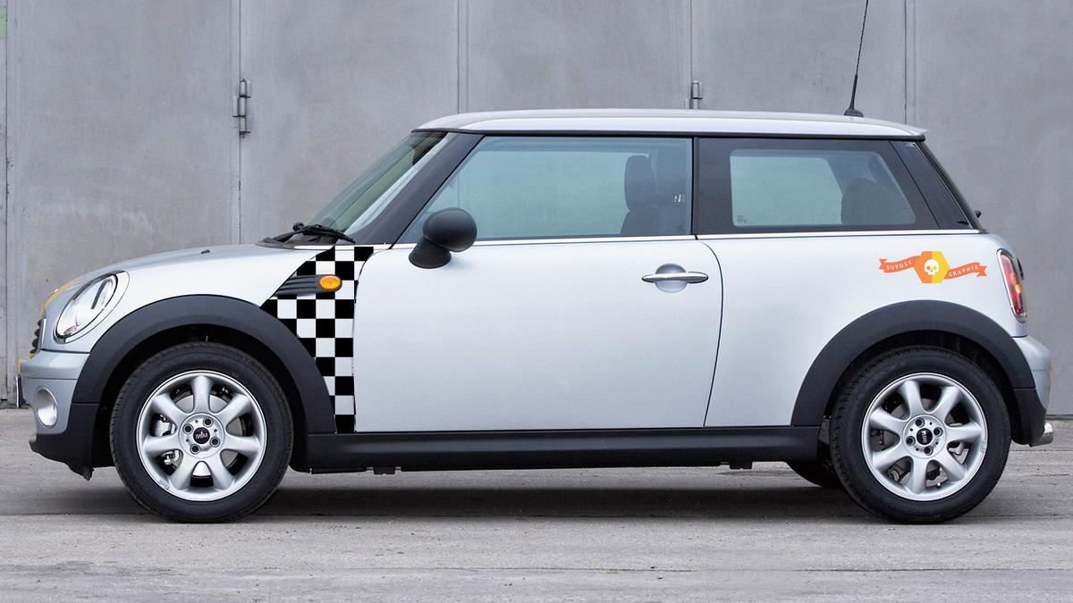BMW Mini Cooper R55 R56 R57 A Panel Checkered Flag Aufkleber Stiker Graphics