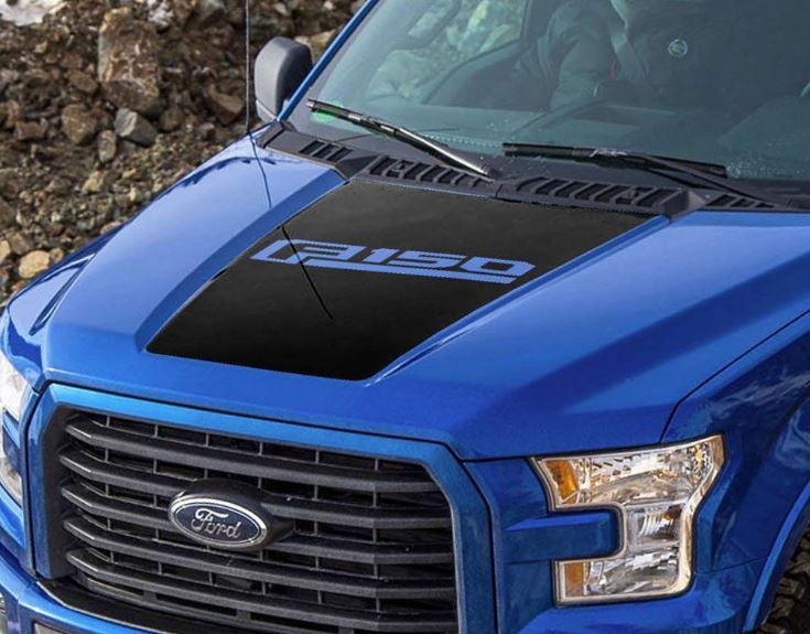 2015 2016 Ford F-150 F150 Matte Black Hood Black Out Stripe Graphics #1