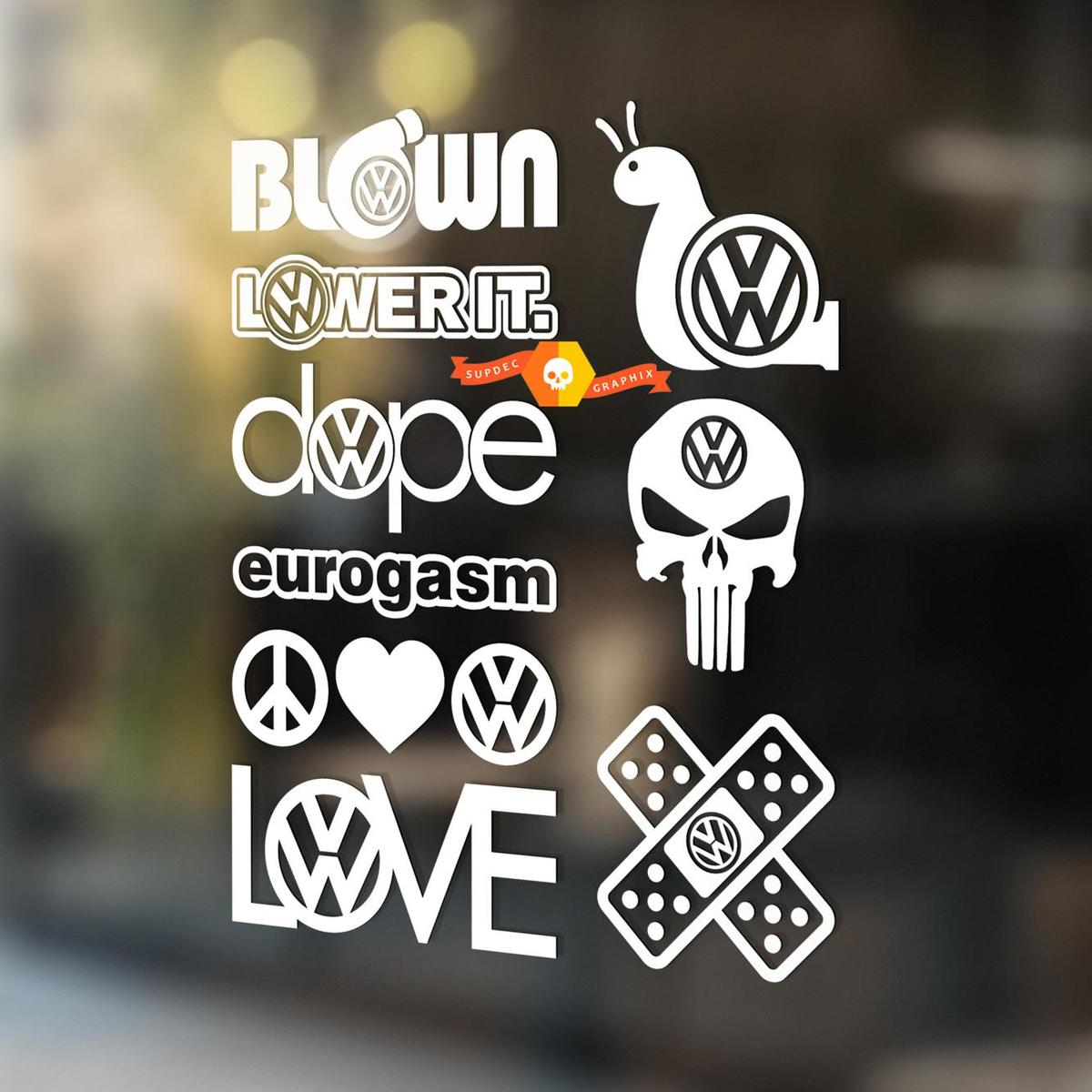 Euro Vinyl Decals Stickers 9 Pack Volkswagen VW Illest Eurogasm Hellaflush dope Love