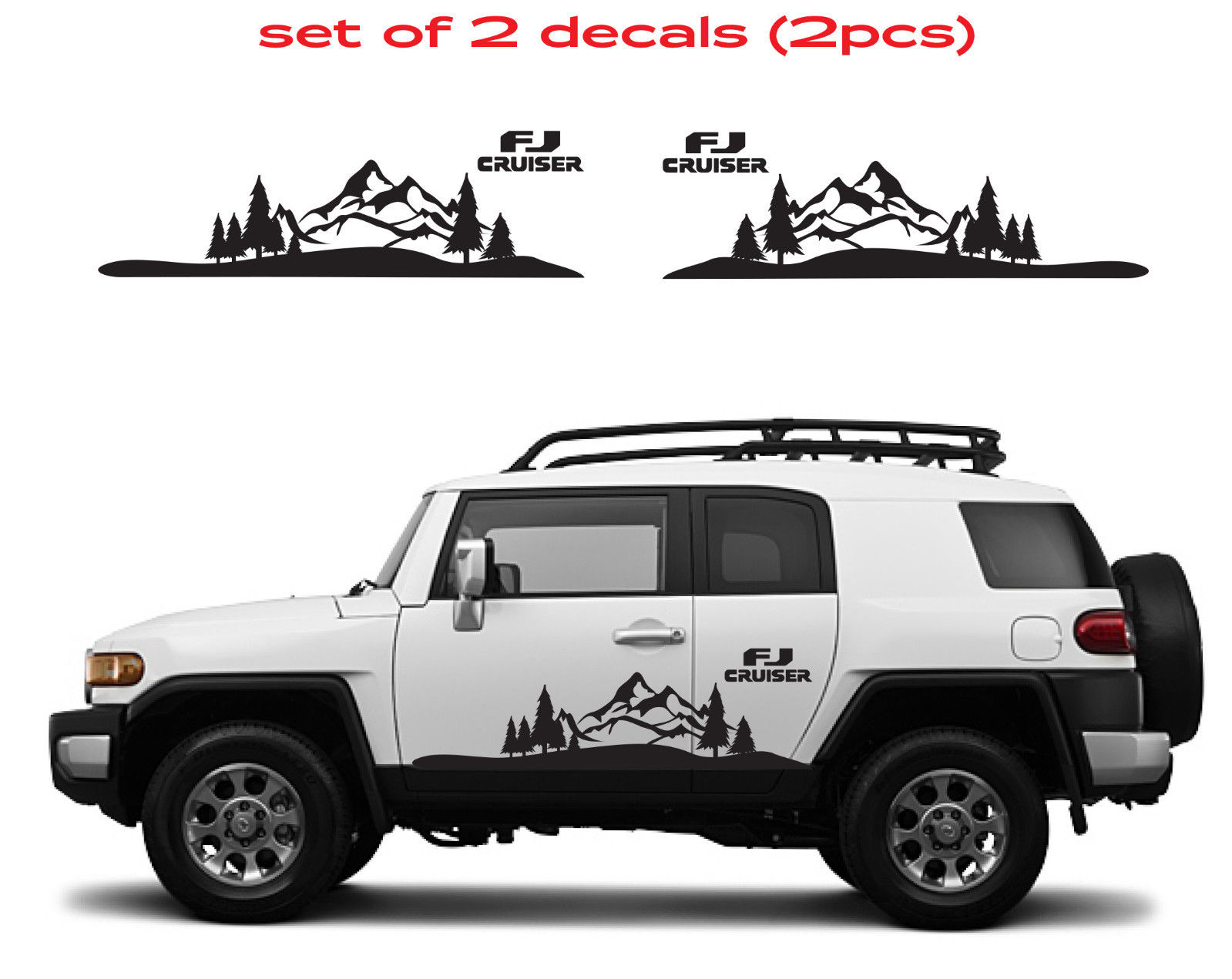 Pink Tree Wall Sticker Product Toyota Fj Cruiser Mountain Decal Vinyl Side Door