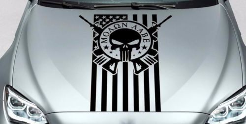 PUNISHER skull MOLON LABE US hood side vinyl decal sticker fits wrangler bmw etc