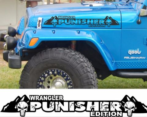 The punisher edition version 2 hood decals custom set for jeep wrangler hoods