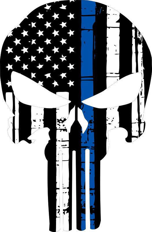 Punisher Skull American Flag Police Blue Line Decal -