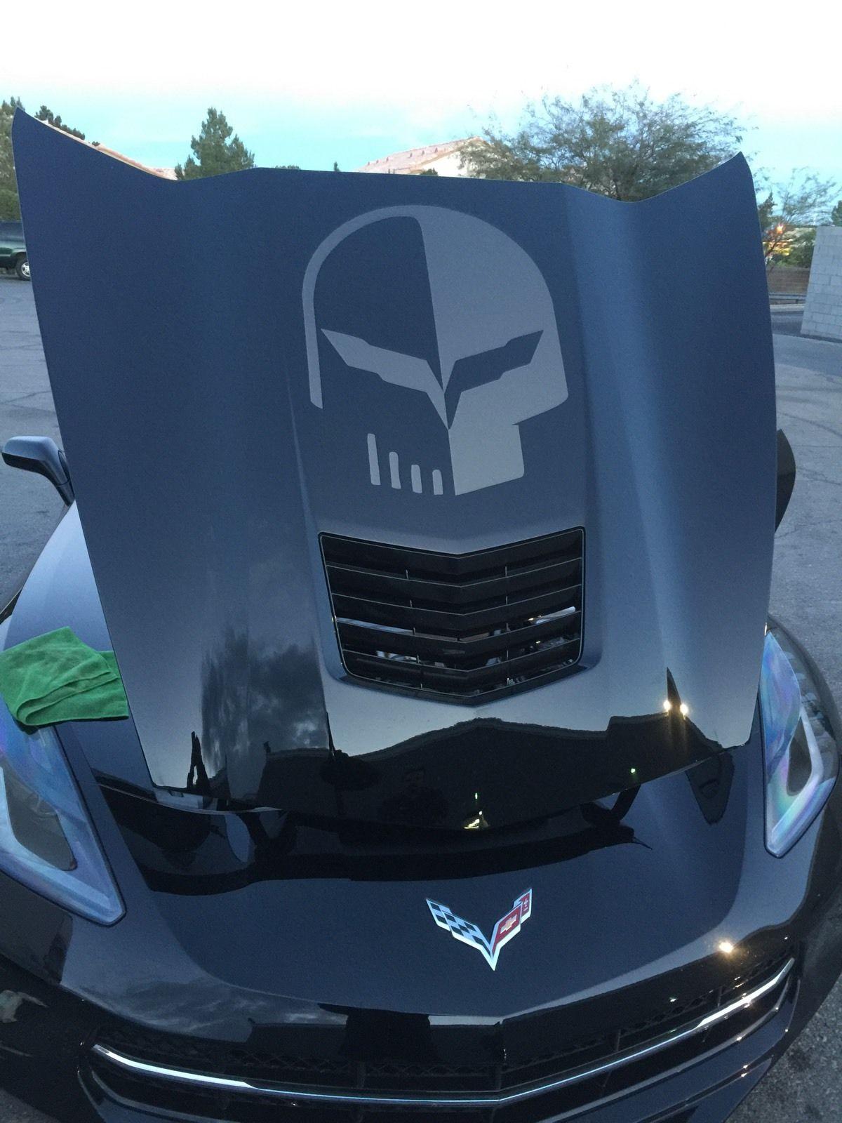 Chevy Jake Corvette Punisher Haube Vinyl Aufkleber Aufkleber Überlagerung Grafik Schwarz