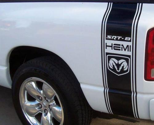 AUFKLEBER FÜR Ram Truck SRT 8 HEMI 2 BEDSTRIPE BETTSTREIFEN-KIT Vinyl-Aufkleber