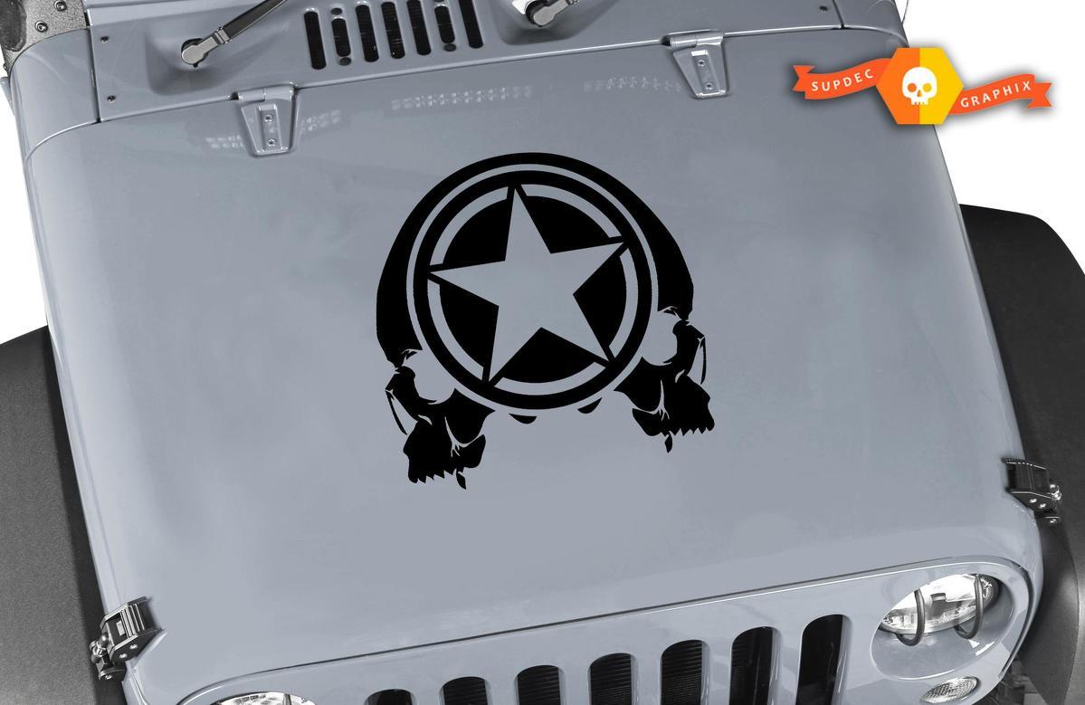 Schädel Militär Star Hood Tür Tür Kofferraum Vinyl Aufkleber Aufkleber passt Wrangler