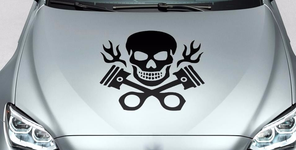 Skull and crossed pistons with flames hood body logo vinyl Stickers Decals