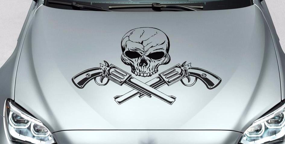 Schädel und Waffen Motorhaube Seite Vinyl Aufkleber Aufkleber für Auto Track Wrangler FJ etc.