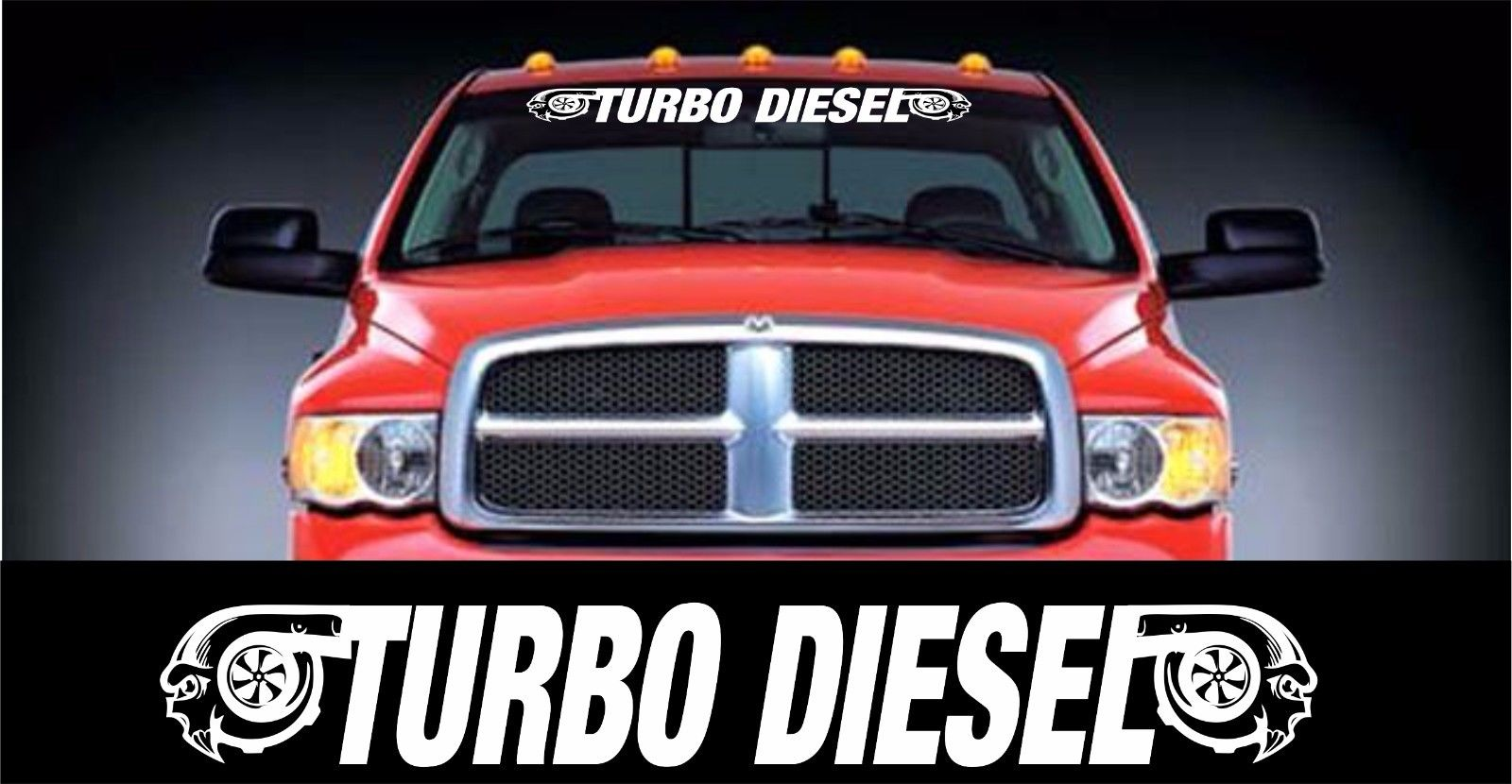 Turbo Diesel Stil Windschutzscheibe Banner Aufkleber Aufkleber 5 X 48