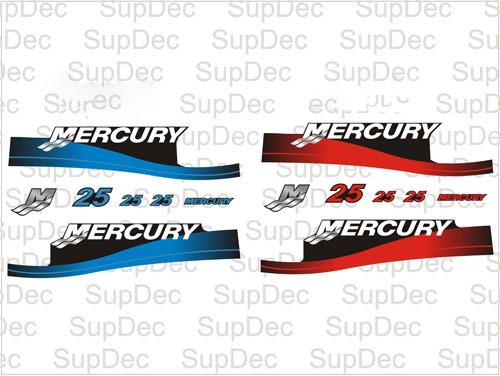 Mercury 25 Außenborder Motorhaube Boot Aufkleber Grafiken
