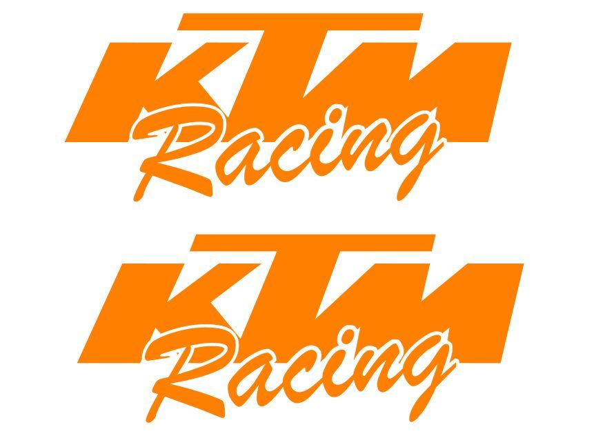 2 KTM Racing ORANGE sticker decal moto mx 50 65 125 250 350 450 300 sx xc sxf