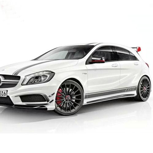 Full kits auto side skirt car sticker & car hood roof racing stripe for Mercedes-Benz