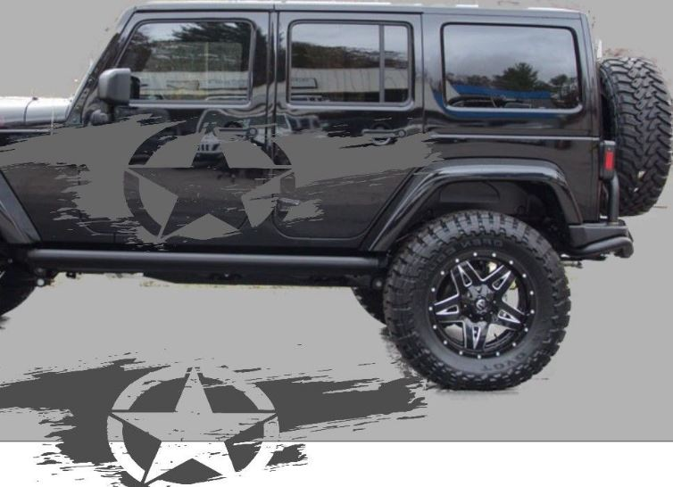 Product Distressed Star Side Body Decal Kit To Fit Jeep