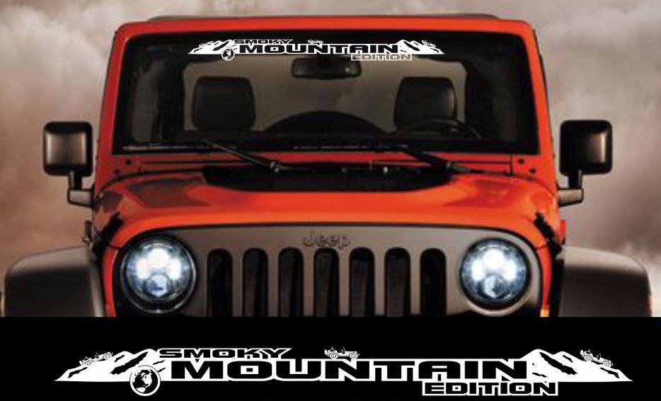 product smoky mountain edition windshield banner decal sticker fits jeep wrangler