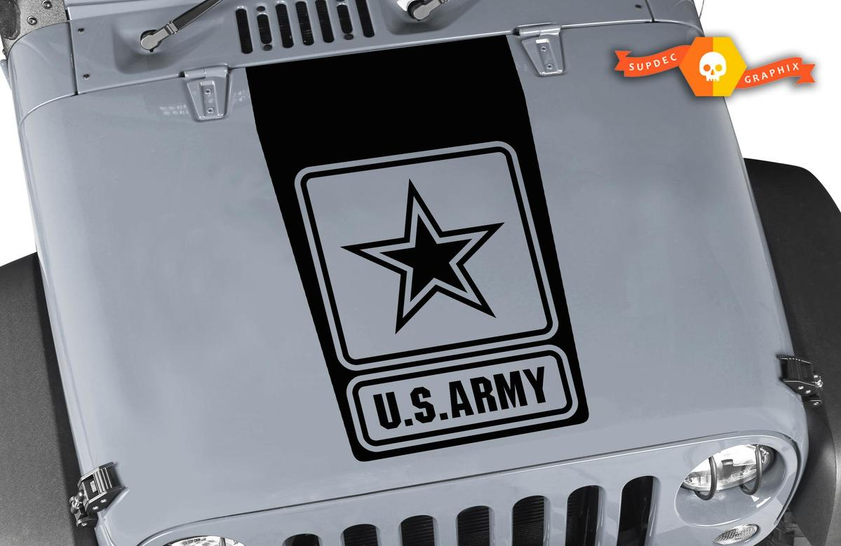 Jeep Wrangler Blackout US ARMY Vinyl Hood Decal Sticker JK JKU LJ TJ