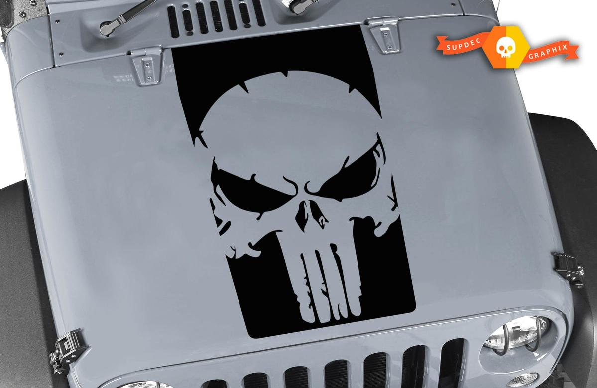 Jeep Wrangler The Punisher 3 Vinyl Hood Decal LJ TJ JK JKU