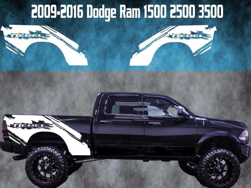2009-2016 Dodge Ram Vinyl Aufkleber Grafik Rebel Truck Bed Stripes 1500 2500 3500