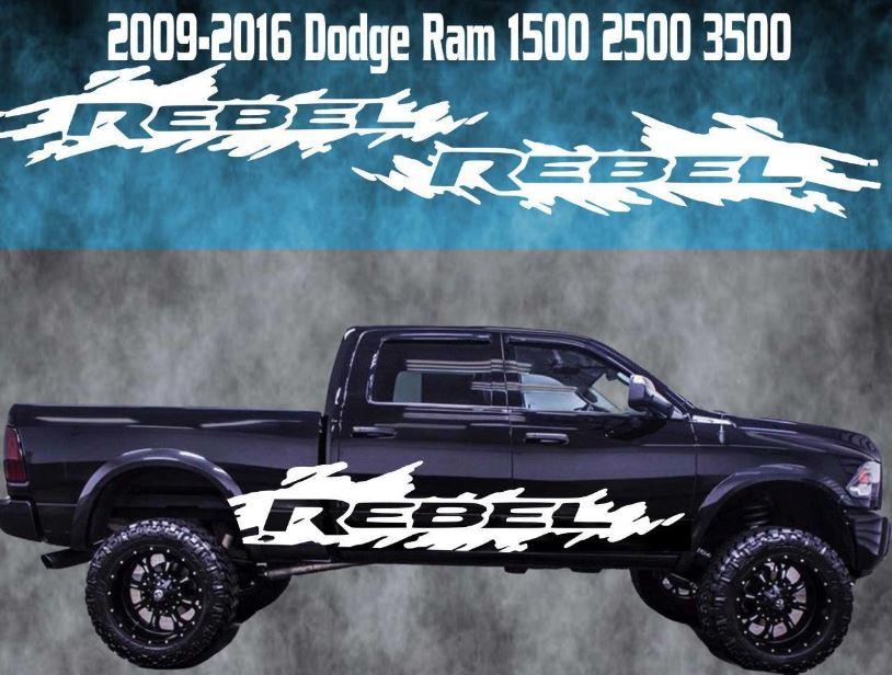 Product 2009 2016 dodge ram rebel vinyl decal graphic racing rebel 4x4 truck stripe