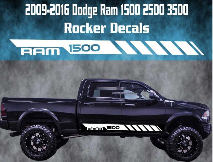 2009-2016 Dodge Ram Rocker Streifen Vinyl Aufkleber Grafik Racing 1500 Rebel Hemi