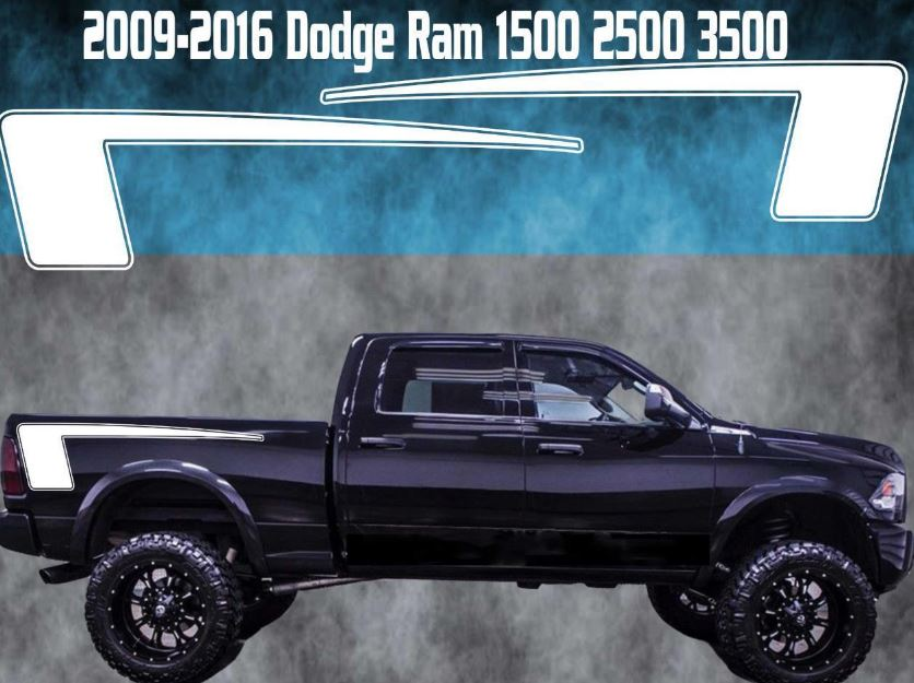 2009-2016 Dodge Ram Vinyl Decal Graphic Truck Bed Stripes Hemi Hockey Contour