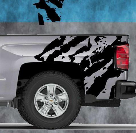 2014 2015 2016 Chevy Silverado Vinyl Decal Sticker Ripped Graphic Stripe Wrap