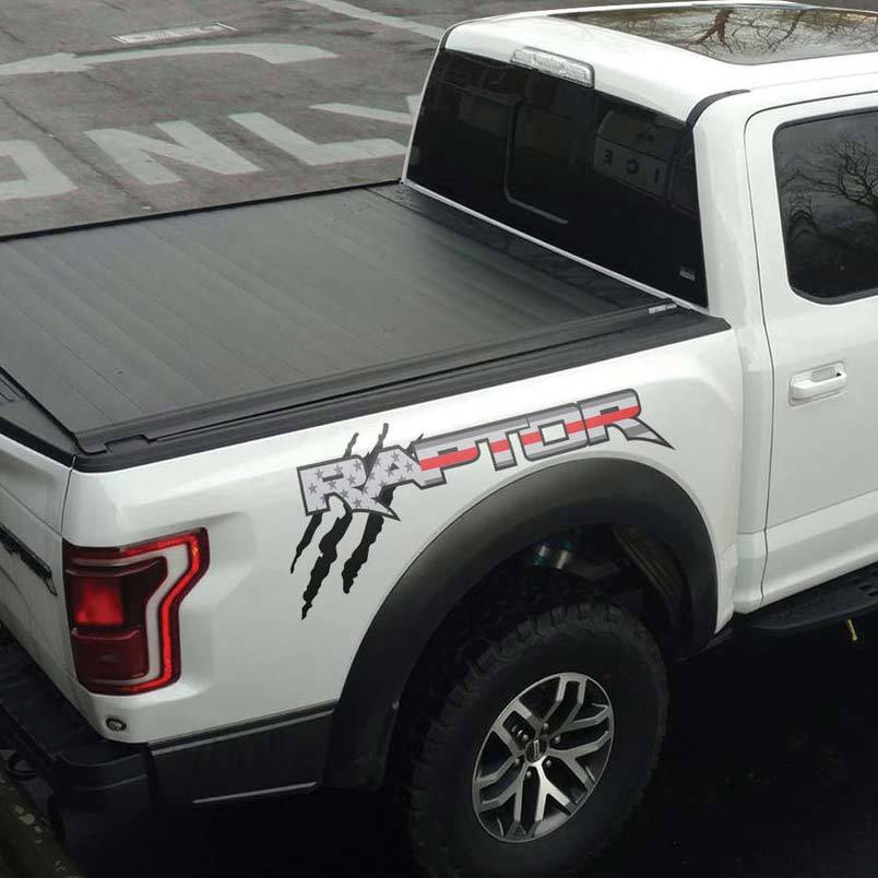 Fits: FORD F150 USA FLAG Truck 4x4 bed American Decal sticker emblem BLACK