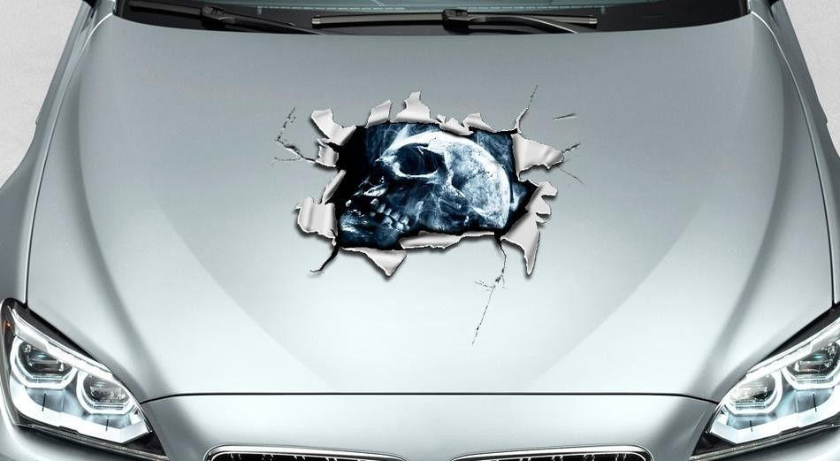 Skull hole in hood tears rip ripped graphics decal sticker pick up truck suv car