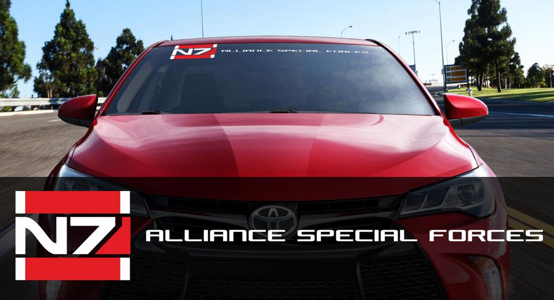 Mass Effect N7 Logo Systems Alliance Navy ALLIANCE SPECIAL FORCES windshield decals stickers