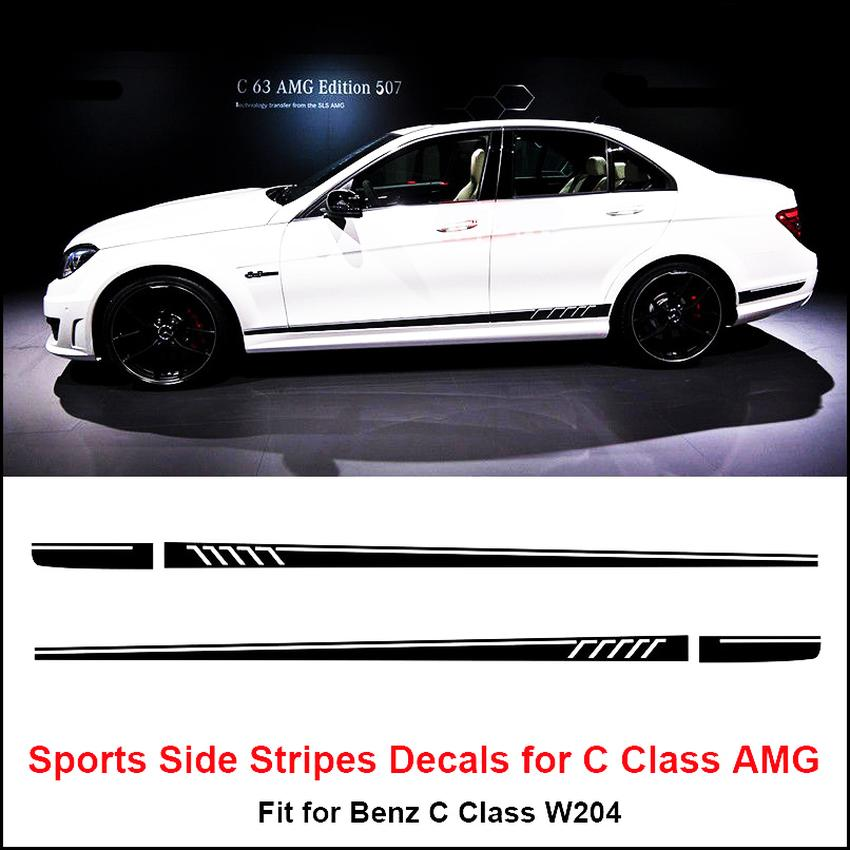 Side Stripes Decals Sticker for Mercedes Benz W204 C Class AMG