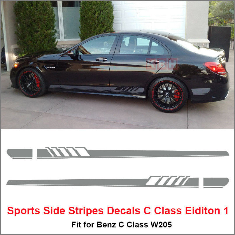 Side Stripe Decal Sticker Mercedes Benz W205 C Class AMG Silver Gray any colors