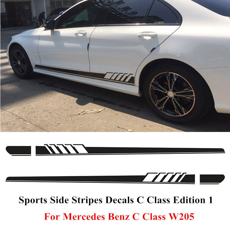 Side stripes decal sticker for mercedes benz w205 c class amg black