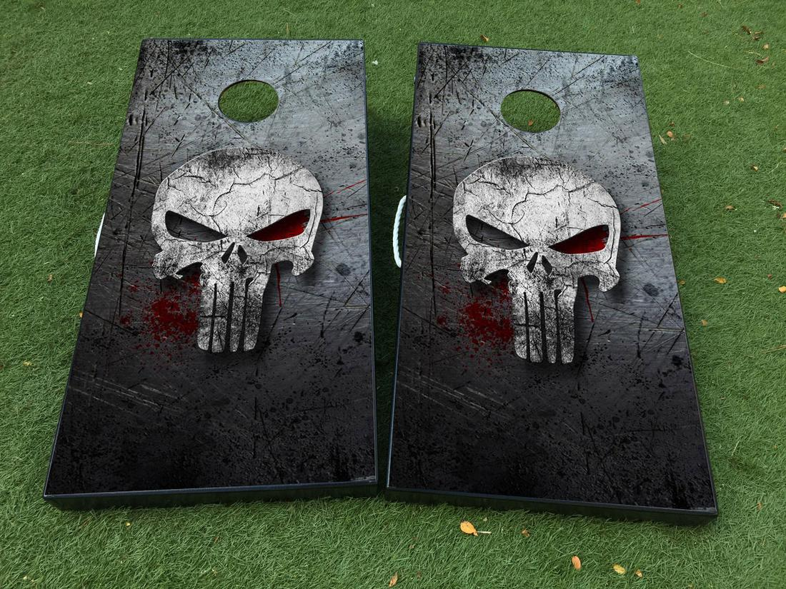 Punisher skull Cornhole Board Game Decal VINYL WRAPS with LAMINATED
