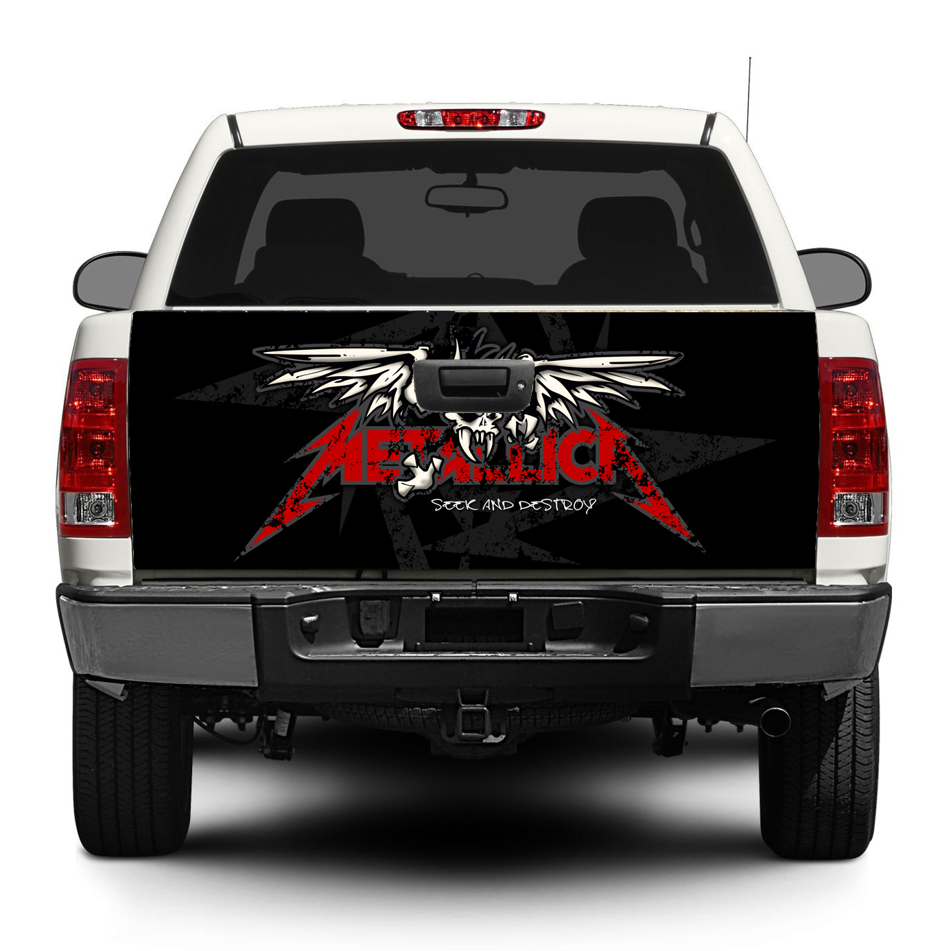 Metallica trash metal rock tailgate decal sticker wrap pick up truck suv car