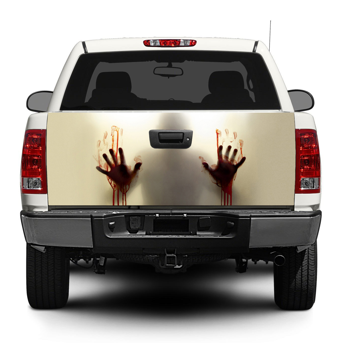 Zombie blood help tailgate decal sticker wrap pick up truck suv car